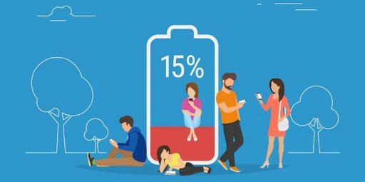 Mensen met een lege smartphone accu